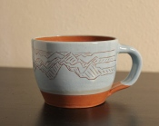 12 oz. Earthenware and Sgraffito Slip Glaze